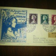 Sellos: SOBRE PRIMER DIA. MONACO. 1957.. Lote 207780680