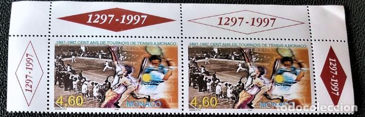 MÓNACO. 2110 ANIVERSARIO TORNEO DE TENIS Y NOMBRE DEL VENCEDOR, EN PAREJA. 1997. SELLOS NUEVOS Y NU (Sellos - Extranjero - Europa - Mónaco)