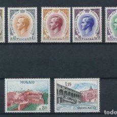Sellos: MÓNACO 1969 IVERT 772/8 *** PRINCIPE RAINIERO III Y VISTAS DEL PALACIO - REALEZA. Lote 213886692