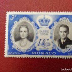 Sellos: MONACO - VALOR FACIAL 3 F - AÑO 1956 - BODA REAL - MI 561 - SCOTT 366. Lote 214073231