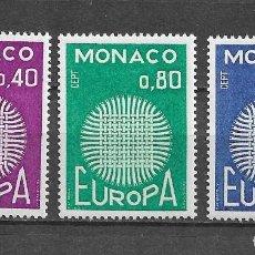 Sellos: MÓNACO, EUROPA, 1970, YVERT 819-821, NUEVO, MNH**. Lote 214093508