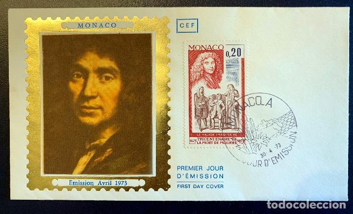 PREMIERE JOUR EMISSION MOLIERE MONACO 1973. FDC MONACO 1973 MOLIERE. (Sellos - Extranjero - Europa - Mónaco)