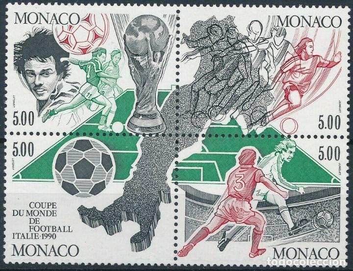 MONACO 1990 IVERT 1726/9 *** COPA DEL MUNDO DE FUTBOL - ITALIA-90 - DEPORTES (Sellos - Extranjero - Europa - Mónaco)