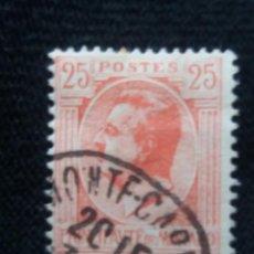 Sellos: MONACO, 25C, PRNCIPE LOUIS II, AÑO 1924. SOBREESCRITO. Lote 217376475