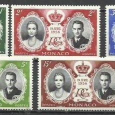 Selos: 2027-MNH** SELLOS SERIE COMPLETA MONACO BODA RAINIERO Y GRACE KELLY 1956 473/7. Lote 220689782