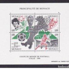 Sellos: MONACO 1990 - COPA DEL MUNDO DE FUTBOL ITALIA 90 - YVERT BLOCK Nº 50**. Lote 221696981