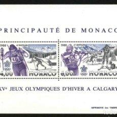 Sellos: MONACO 1988 - JUEGOS OLIMPICOS DE CALGARY - YVERT BLOQUE Nº 40**. Lote 221697873