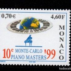 Sellos: MONACO 2193** - AÑO 1999 - MUSICA - 10º MONTECARLO PIANO MASTER. Lote 221799876