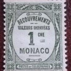 Sellos: SELLO DE TELEGRAFO MONACO 1 CME, AÑO 1937. Lote 222249395