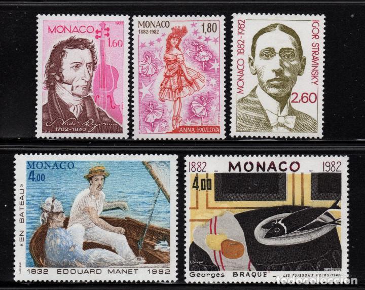 MONACO 1344/48** - AÑO 1982 - LAS ARTES - ANIVERSARIOS - MUSICA - PINTURA (Sellos - Extranjero - Europa - Mónaco)