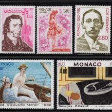 Sellos: MONACO 1344/48** - AÑO 1982 - LAS ARTES - ANIVERSARIOS - MUSICA - PINTURA. Lote 222350235