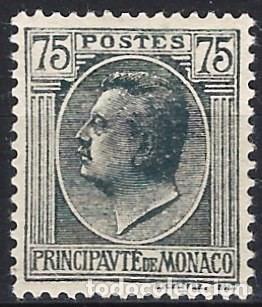 MÓNACO 1924-39 - PRÍNCIPE LUIS II, 75 C. GRIS - MH* (Sellos - Extranjero - Europa - Mónaco)