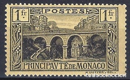 MÓNACO 1925-27 - VIADUCTO, NEGRO SOBRE AMARILLO DE 1 FR. - MH* (Sellos - Extranjero - Europa - Mónaco)
