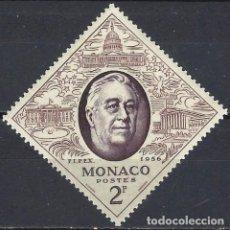 """Timbres: MÓNACO 1956 - EXPO. INTERNACIONAL DE SELLOS """"FIPEX"""" DE NUEVA YORK, FRANKLIN D. ROOSEVELT - MNH**. Lote 223265201"""