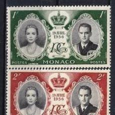 Francobolli: MÓNACO 1956 - BODA DEL PRÍNCIPE RAINIERO Y GRACE KELLY, S.COMPLETA - MH*. Lote 223267636