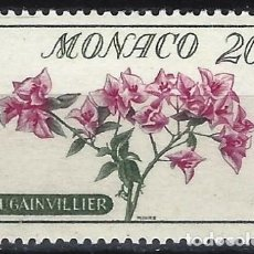 Sellos: MÓNACO 1959 - SELLOS NO EMITIDOS CON RECARGO - FLORES, BUGANVILLA - MNH**. Lote 223272708