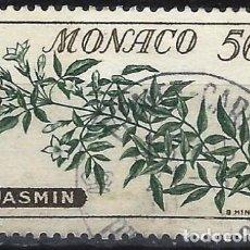 Sellos: MÓNACO 1959 - SELLOS NO EMITIDOS CON RECARGO - FLORES, JAZMÍN - USADO. Lote 223273015
