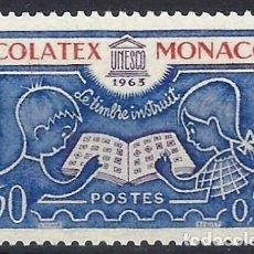 """Timbres: MÓNACO 1963 - EXPO. INTERNACIONAL DE SELLOS """"SCOLATEX"""" - MNH**. Lote 223319677"""