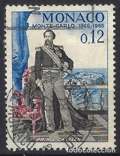 MÓNACO 1966 - CENTENARIO DE MONTE-CARLO, PRÍNCIPE CARLOS III - USADO (Sellos - Extranjero - Europa - Mónaco)