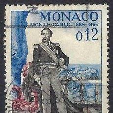 Timbres: MÓNACO 1966 - CENTENARIO DE MONTE-CARLO, PRÍNCIPE CARLOS III - USADO. Lote 223324535