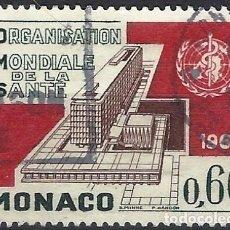 Francobolli: MÓNACO 1966 - INAUGURACIÓN DE LA SEDE DE LA OMS, GINEBRA - USADO. Lote 223325492