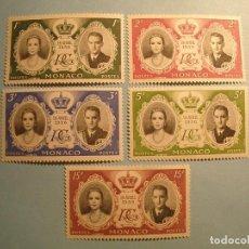 Sellos: MONACO 1956 - BODA DE GRACE KELLY Y RAINIERO DE MÓNACO - 19 ABRIL 1956 - SERIE COMPLETA NUEVOS.. Lote 225032945
