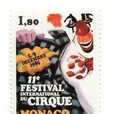 Sellos: MONACO - FESTIVAL INTERNACIONAL DE CIRCO DE MONTECARLO / PAYASO/ INFANCIA - AÑO 1985 - 1 SELLO NUEVO. Lote 235585365