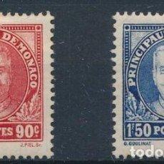 Sellos: MONACO 1933 IVERT 117/8 ** 10º ANIVERSARIO DE LA ASCENSIÓN AL TRONO DEL PRÍNCIPE LUIS II. Lote 253644575