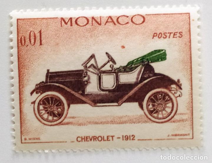 SELLO DE MONACO 0,01 F - 1962 - COCHES ANTIGUOS - USADO SIN SEÑAL DE FIJASELLOS (Sellos - Extranjero - Europa - Mónaco)
