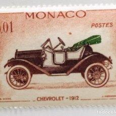 Sellos: SELLO DE MONACO 0,01 F - 1962 - COCHES ANTIGUOS - USADO SIN SEÑAL DE FIJASELLOS. Lote 255521540