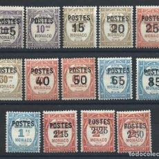 Sellos: MONACO N°140/53* (MH) 1937 - TIMBRE TAXE DE 1924-32 SURCHARGÉS. Lote 264749819