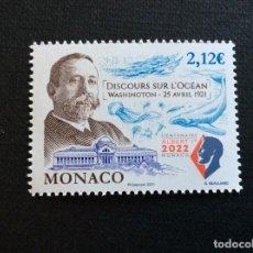 Selos: MONACO AÑO 2021. CENTENARIO DISCURSO SOBRE EL OCEANO DEL PRINCIPE ALBERTO I. Lote 267841584