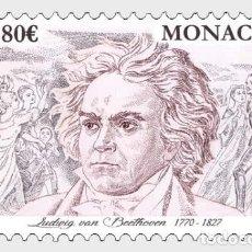 Sellos: MONACO 2020 - 250TH ANNIVERSARY OF THE BIRTH OD LUDWIG VAN BEETHOVEN MNH. Lote 278586023