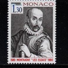 Sellos: MONACO 1227** - AÑO 1980 - 4º CENTENARIO DE LA PUBLICACION ESSAIS DE MONTAIGNE. Lote 287342418
