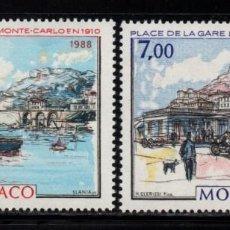 Sellos: MONACO 1643/44** - AÑO 1988 - MONACO Y LA BELLE EPOQUE. Lote 287346708