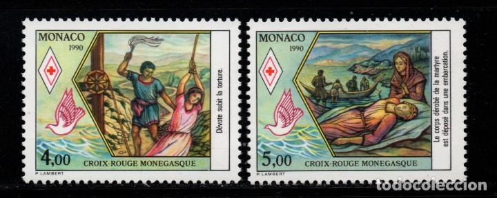 MONACO 1720/21** - AÑO 1990 - CRUZ ROJA - VIDA DE SANTA DEVOTA (Sellos - Extranjero - Europa - Mónaco)