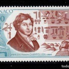 Sellos: MONACO 1740** - AÑO 1990 - BICENTENARIO DEL NACIMIENTO DE JEAN FRANCOIS CHAMPOLLION. Lote 288570898
