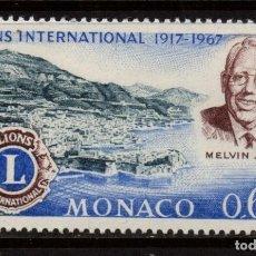 Sellos: MONACO 725** - AÑO 1967 - 50º ANIVERSARIO DE LIONS INTERNATIONAL. Lote 289339313
