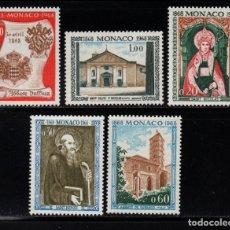 Sellos: MONACO 744/48** - AÑO 1968 - CENTENARIO DE LA ABADIA NULLIUS DIOECESIS. Lote 289339648