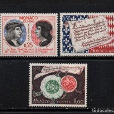 Sellos: MONACO 576/78** - AÑO 1962 - 450º ANIVERSARIO DE LA SOVERANIA. Lote 293443823