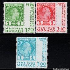 Sellos: MONACO 1456/58** - AÑO 1985 - CENTENARIO DEL SELLO DE MONACO. Lote 295333438