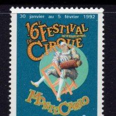 Sellos: MONACO 1810** - AÑO 1992 - FESTIVAL INTERNACIONAL DEL CIRCO. Lote 295335563