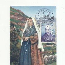 Sellos: POSTAL SANTA BERNARDA DE LOURDES MATASELLO PRIMER DIA 1958 SPD MONACO. Lote 296792438