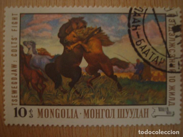 SELLO ANTIGUO MONGOLIA 10 - TSEWEGDJAW - LUCHA ENTRE CABALLOS / CABALLO - SELLOS NATURALEZA / FAUNA (Sellos - Extranjero - Asia - Mongolia)