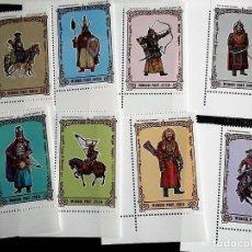 Sellos: MONGOLIA. 2106/13 SOLDADOS DE GENGIS KHAN: A CABALLO, CON ARCO, ESPADA. BORDE DE HOJA. 1997. SELLOS . Lote 69366765