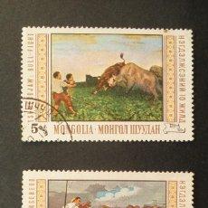 Sellos: 2 SELLOS 1969 MONGOLIA PINTURAS MUSEO NACIONAL ULAN BATOR. Lote 113091047