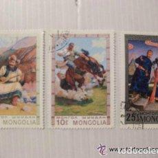 Sellos: LOTE DE 3 SELLOS DE MONGOLIA : ESCENAS Y TIPOS TIPICOS DEL PAIS. Lote 129287451