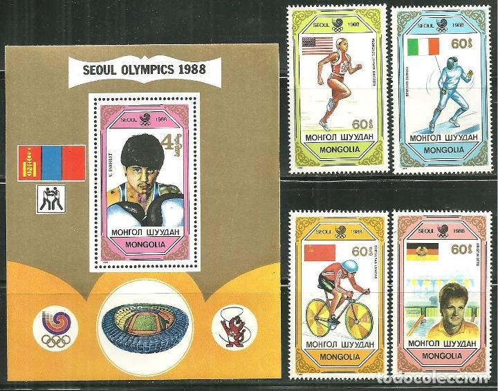 MONGOLIA 1989 IVERT 1680/83 Y HB 138 *** GANADORES DE LOS JUEGOS OLIMPICOS DE SEUL - DEPORTES (Sellos - Extranjero - Asia - Mongolia)