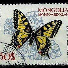 Sellos: MONGOLIA SCOTT:335-(1963) (MARIPOSA: COLA DE GOLONDRINA (PAPILIO MACHAON) (USADO). Lote 148078450