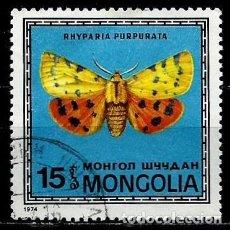 Sellos: MONGOLIA SCOTT:754-(1974) (MARIPOSA: TIGRE PÚRPURA (RHYPARIA PURPURATA) (USADO). Lote 148080534